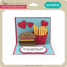 Pop Up Card Burger and Fries - Lori Whitlock's SVG Shop