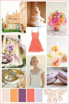 coral and purple and ivory color palette