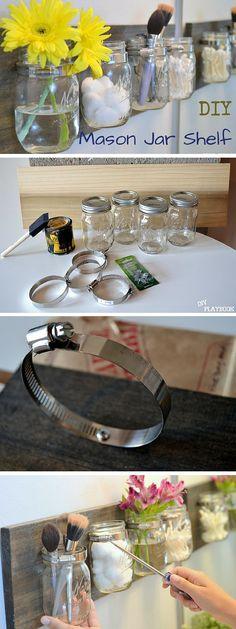 Check out the tutorial: #DIY Mason Jar Shelves #crafts #homedecor