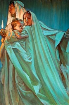 Escape By Night, prophetic art by Rose Datoc Dall. Jesus with Mary and Joseph. What beautiful blue and green glowing colors! Blessed Mother Mary, Blessed Virgin Mary, Lds Art, Bible Art, Catholic Art, Religious Art, Queen Of Heaven, Mama Mary, Biblical Art