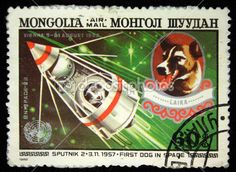 MONGOLIA - CIRCA 1982: A stamp printed in Mongolia shows Laika - first dog in space, circa 1982 by igorgolovniov - Stock Photo