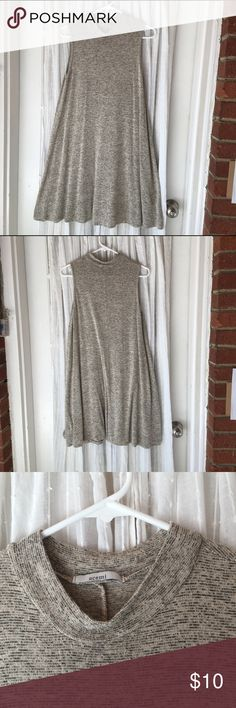 Acemi Sleeveless Dress w/ Cuffed Neck Love this dress! Has lots of movement. Shows all the right curves and hides the others. Cuffed neck makes it easy to dress up or down. Some loose thread. (I usually snip them). Bought in a large but I usually wear XL. It works! Acemi Dresses