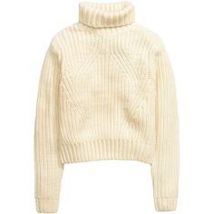 H&M Rib-knit polo-neck jumper ($46) ❤ liked on Polyvore featuring tops, sweaters, h&m, natural white, white top, white short jumper, white turtleneck sweater, short jumper и turtleneck sweater