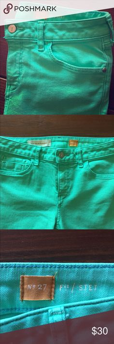 Anthro Cropped Jeans Pilcro and the Letterpress, cropped fit STET  SIze 27. Great condition!! Inseam is 24 inches. Perfect green turquoise for the summer!! Anthropologie Jeans Ankle & Cropped