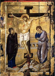 The Crucifixion of Christ ( source ) The Lord accomplished our salvation by His death on the Cross: on the Cross He tore up th. Images Of Christ, Religious Images, Religious Icons, Religious Art, Byzantine Icons, Byzantine Art, Crucifixion Of Jesus, Christian Artwork, Jesus Christus