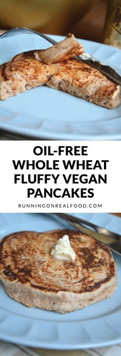 These Oil-Free Whole Wheat Fluffy Vegan Pancakes are so easy to make and only require a few ingredients. This will be your new go-to #veganpancake recipe! No added sugar.