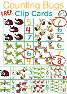 FREE Preschool Math Centers - Counting Bugs Clip Cards