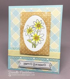 Daisy Birthday card by Danielle Pandeline | Garden Starter Stamp Set & Garden Window Die | Newton's Nook Designs #newtonsnook