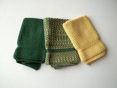 Dish Cloths Knit in Cotton in Green and Daffodil by TheNeedleHouse, $12.00