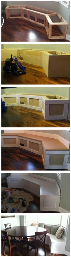 DIY Built-in Banquette...gasp!  This could solve the problem of the chairs scraping the wall and leaving marks!
