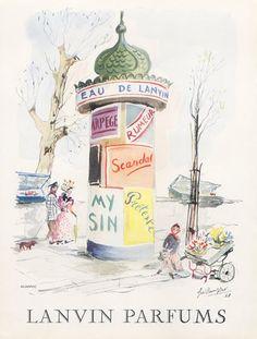 Parfums Lanvin - 1949 - Colonne Morris - Illustration de Guillaume Gillet, pour Arpège, Prétexte, Eau De Lanvin.. Quai de Paris........