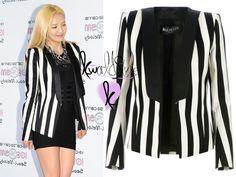 Over sizef blazer with mini black dress- Hyoyeon SNSD Balmain, Airport Style, Red Carpet Fashion, Clothing Items, Adidas Jacket, Blazer, Womens Fashion, Snsd, Kdrama