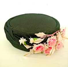 Black Pillbox Hat with Pink Flowers 1960s by lindafrenchgallery #vintagehat #pillbox #JackieO