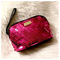 """Sequin Hearts Makeup Bag NWT Hot pink heart shaped sequins on this cosmetic bag by Betsey Johnson line """"Love, Betsey"""" Betsey Johnson Bags Cosmetic Bags & Cases"""