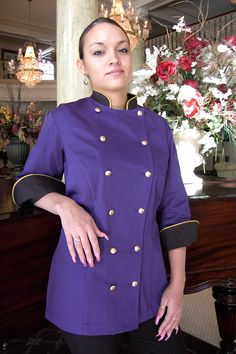 Purple & Black Women's Chef Coat Style BSW100 - CROOKED BROOK®