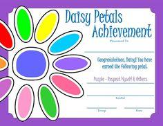 girl scout daisy activities | Daisy Petals Certificate - Purple | Daisy Girl Scout Purple Petal ...