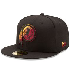 693d39e2b87 Men s Washington Redskins New Era Black Color Dim 59FIFTY Fitted Hat