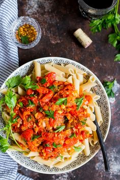 20 Minute Cherry Tomato Penne Pasta!  This pasta is so quick, easy and delicious!  Chunky cherry tomato sauce made from scratch on top of penne pasta!  {gluten free, vegan}