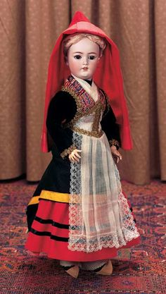 . Marks: 1159 Germany Simon & Halbig S&H 7 (head) Bebe Jumeau Diplome d'Honneur (body). Bisque Doll for the French Market in Original Costume of Haute-Pyrenees