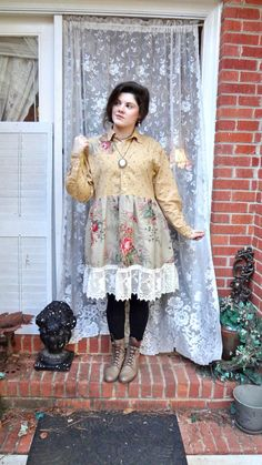 Mori Girl, Recycled Clothing, Romantic Cowgirl, Altered Couture Dress, Tunic, Gypsy, Bohemian, Boho Chic, S/M Bertha Louise Designs