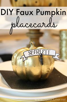 DIY Faux Pumpkin Placecards from MichaelsMakers Classy Clutter