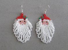 Santa Claus Earrings for Christmas in by DsBeadedCrochetedEtc, $25.00