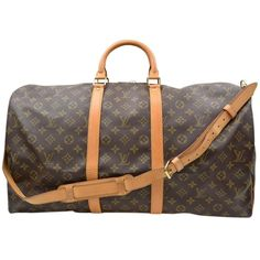 Pre-owned Louis Vuitton Keepall 55 Bandouliere Travel Luggage Carry On... ($900) ❤ liked on Polyvore featuring bags, luggage and monogram canvas