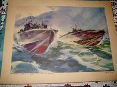 1944 Arthur Beaumont's '' OUR FIGHTING NAVY ''color repros of painting for framing by ARTCPACKRAT on Etsy