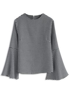 Houndstooth Allure Top with Bell sleeves - New Arrivals - Retro, Indie and Unique Fashion