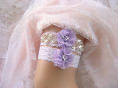 Bridal Garter Wedding Garter Set Lavender by nanarosedesigns