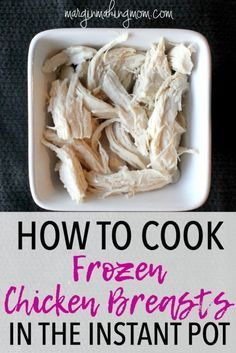 Never face the dinnertime dilemma of frozen meat again! With your Instant Pot electric pressure cooker, chicken breasts can cook from frozen in just ten minutes of cooking time! Instant Pot | Easy Meals | How to cook frozen chicken breasts in Instant Pot