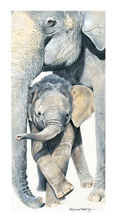 Mummy and Me Elephant Greeting Card by Pollyanna Pickering Asian Elephant, Elephant Love, Elephant Art, Jungle Animals, Baby Animals, Cute Animals, Animal Paintings, Animal Drawings, Pink Elephants On Parade