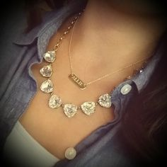 Monogrammed Necklace |Signature Engravable Bar Necklace | Stella & Dot - Love this combo! Wear the engravable signature bar everyday and add the sparkle for fun... Proceeds from the MPMK Stella & Dot store go to the charity Hope Link :).