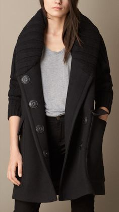 Burberry Oversize Contrast Fabric Coat on shopstyle.com