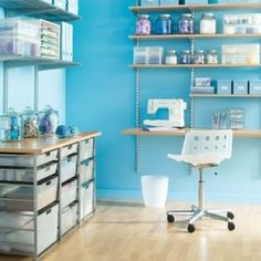 The Container Store > Sycamore & Platinum elfa Hobby Room - ideas for organizing office/guest BR Sewing Spaces, Sewing Rooms, Elfa Shelving, Shelves, Shelf Desk, Sewing Room Organization, Studio Organization, Organizing Crafts, Organising