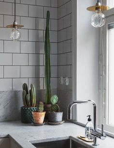 Grey tiles and a marble working surface make this kitchen look elegant. A pendant luminaire, a silver faucet and some cacti complete the look.  Click to check out all the photos and finde more inspiration.