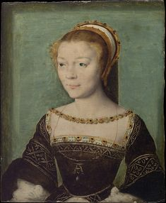 Anne de Pisseleu (1508–1576), Duchesse d'Étampes |  Attributed to Corneille de Lyon | Netherlandish | 1535-40 | oil on wood | Metropolitan Museum of Art | Accession Number: 29.100.197 | Renowned for her brilliance and beauty, Anne de Pisseleu was the mistress of Francis I. She was introduced to the king at court in 1526 when she was seventeen. After his death in 1547, she was dismissed from court by the mistress of the succeeding king (Henry II), and died in obscurity.