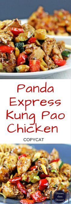 Panda Express Kung Pao Chicken: Full of Spicy Wok fired Chicken Breast, Zucchini, Red Bell Peppers and crunchy Peanuts in a Sesame Ginger-Garlic Sauce, this recipe is Authentically Panda Express! Panda Express Recipes, Kung Pao Chicken Recipe Panda Express, Pf Changs Kung Pao Chicken Recipe, King Pao Chicken Recipe, Kung Pao Sauce Recipe, Turkey Recipes, Chicken Recipes, Chicken Bell Pepper Recipes, Healthy Recipes