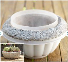 Hypertufa pots made of plastic storage containers. Before the concrete sets, poke a drainage hole. Hypertufa How-To: http://www.bhg.com/gardening/container/plans-ideas/make-a-hypertufa-trough/