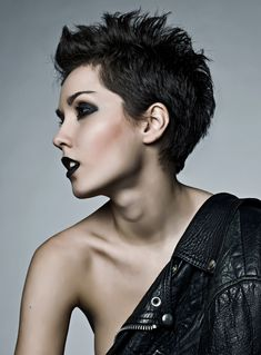 Black spiked pixie cut #shorthair