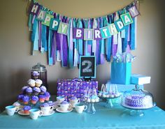 Tea Party Happy Birthday Banner made from Recycled Cardboard, Mermaid Lavender Purple and Teal Personalized Party Decor 1st Birthday Picture Prop