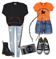 """Half-Blood both ways"" by nightmarexox ❤ liked on Polyvore featuring Topshop, Converse and Dr. Martens"