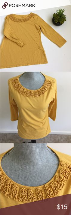 Charter Club Top Beautiful gold 3/4 sleeve top. Has ruffle detail along neckline. Soft and stretchy cotton. No flaws to note. Charter Club Tops