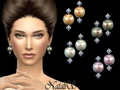The Sims Resource: Crystals and pearl earrings v2 by NataliS • Sims 4 Downloads