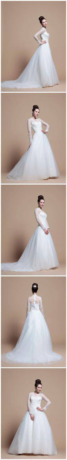 Princess Long Sleeve V-Neck Wedding Dress