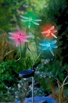 Grasslands Road Solar Powered Dragonfly Garden Stake, 32-Inch #GrasslandsRoad #Pink #Green #Blue #Orange #Tall #Fun #Illuminate #LED #Lights #GiftIdea #SecretGarden