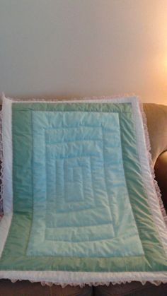 Mint green eyelet and pink ruffle baby crib quilt  blanket handmade #Handmade