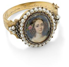 A 19th-century pearl and diamond double-sided portrait bangle ✿⊱╮