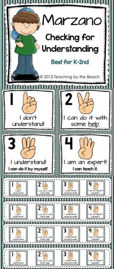 This PDF file contains posters for Marzano-Check for Understanding. There are page sized posters and 4 to a page posters. Also included are small ones to place on students desks or tables. Colors are not too bright to save on ink. These are simple posters that can fit in with any classroom décor.  - By Teaching by the Beach