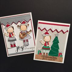 Christmas cards MFT Heart Strings, Perfect Harmony, Jingle All the Way, Trim The Tree and Chevron Fringe stamps and dies. Colored with Copic markers. Joy to the World sentiment stamp by WPlus9.